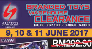 Featured image for Litt Tak branded toys warehouse clearance at Kuala Lumpur from 9 – 11 Jun 2017