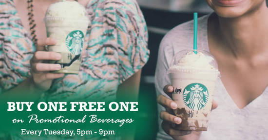 Featured image for Starbucks: Buy 1 FREE 1 on the new promotional beverages every Tuesday, till 20 Jun 2017, 5pm - 9pm!