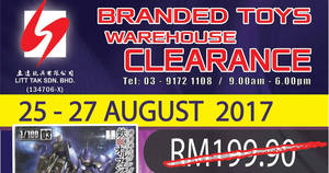 Featured image for Litt Tak branded toys warehouse clearance at Kuala Lumpur from 25 – 27 Aug 2017