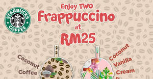 Featured image for Starbucks: RM25 for two tall selected Frappuccino on 30 Sep 2017, 3pm – 6pm