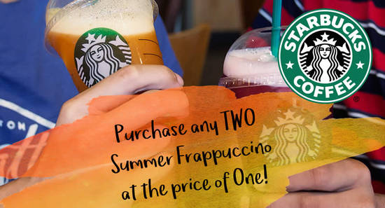 Featured image for Starbucks: Buy-1-FREE-1 Frappuccino at almost ALL outlets! From 7 - 8 Sep 2017, 5pm - 8pm