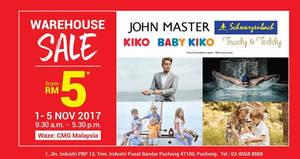 Featured image for Baby Kiko, Kiko, John Master & Schwarzenbach warehouse sale at Puchong from 1 – 5 Nov 2017
