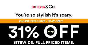 Featured image for Cotton On: 31% OFF ALL brands (inc Rubi, Typo, etc) online sale! Only on 31 Oct 2017
