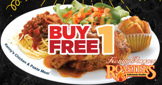Featured image for Kenny Rogers ROASTERS: Buy 1 Free 1 Kenny's Chicken & Pasta Meal from 11 - 13 Oct 2017