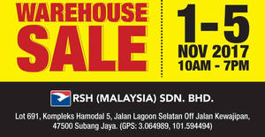Featured image for Royal Sporting House warehouse sale is BACK! From 1 – 5 Nov 2017
