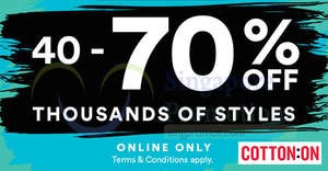Featured image for Cotton On: 40% to 70% OFF selected items (Body, Rubi, Typo, etc)! Valid from 27 – 28 Nov 2017