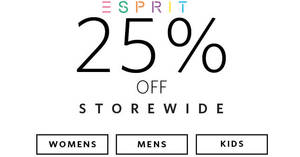 Esprit: 25% OFF regular-priced & sale items online promotion till 21st November 2018