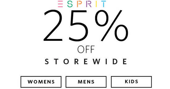 Featured image for Esprit: 25% OFF regular-priced & sale items online promo! From 2 - 22 Nov 2017