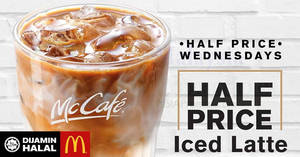 Featured image for McDonald's McCafe: 50% OFF Half-Price Wednesday is BACK nationwide! Valid on 29 Nov 2017