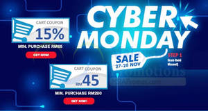 Featured image for Qoo10: Grab free 15% and RM45 Cyber Monday cart coupons! Ends 28 Nov 2017