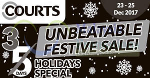 Featured image for Courts: Unbeatable Festive Sale – 3 Days Holiday Special! From 23 – 25 Dec 2017