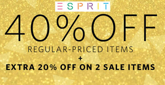 Featured image for Esprit FLASH sale: 40% OFF ALL regular-priced items, 20% OFF sale items & FREE shipping! Ends 13 Dec 2017