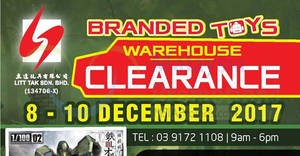 Featured image for Litt Tak branded toys warehouse clearance at Kuala Lumpur from 8 – 10 Dec 2017