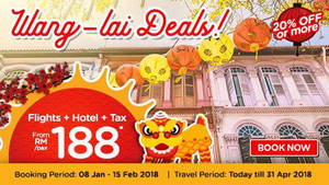 Air Asia Go: Grab a vacation from RM188/pax (Return flights + Hotel + Tax)! Book by 28 Feb 2018