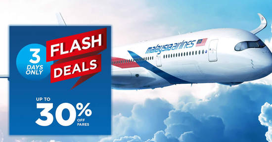 Featured image for Malaysia Airlines 3-day FLASH sale - up to 30% OFF fares! Book by 29 Jan 2018