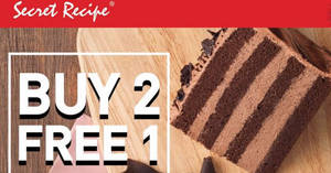 Secret Recipe: Buy 2 FREE 1 selected slice of cake on 22 Jan 2018, 12pm – 5pm!