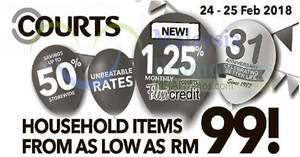 Courts: Household items from as low as RM99! From 24 – 25 Feb 2018