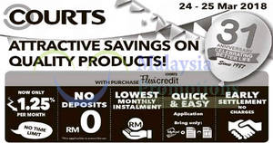 Courts: Attractive savings on quality products! From 24 – 25 Mar 2018