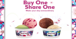 Haagen-Dazs: 1-FOR-1 Double Scoop ice creams at ALL outlets! From 19 – 23 Mar 2018