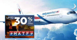 Featured image for Malaysia Airlines fares sale – up to 30% OFF fares! Book by 12 Mar 2018
