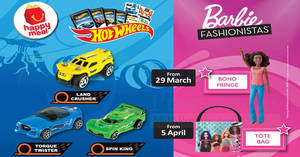 Featured image for McDonald's: Free Barbie/Hot Wheels toy with every Happy Meal purchase! From 29 Mar – 18 Apr 2018