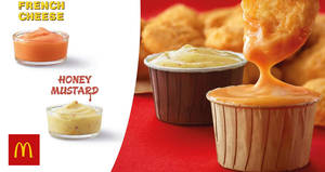 McDonald's: Honey Mustard and French Cheese sauces are back! From 26 Mar 2018