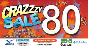 Featured image for World Of Sports up to 80% crazy sale at Hotel Sri Petaling! From 30 Mar – 8 Apr 2018