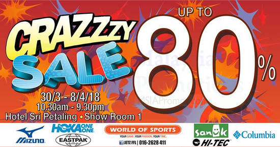 Featured image for World Of Sports up to 80% crazy sale at Hotel Sri Petaling! From 30 Mar - 8 Apr 2018