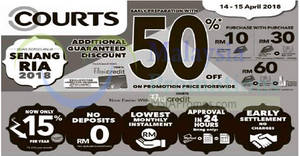 Featured image for Courts: 50% off on promotion price storewide! From 14 – 15 Apr 2018