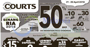 Featured image for Courts: 50% off on promotion price storewide! From 21 – 22 Apr 2018