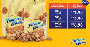 Famous Amos: Grab your second 100g cookies in a bag starting from RM1.90! Ends 16 May 2018