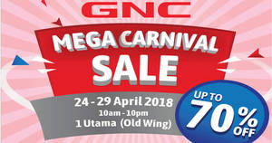 Featured image for GNC Mega Carnival Sale at 1 Utama! From 24 – 29 Apr 2018