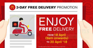 McDonald's: FREE Delivery via McDelivery from 18 – 20 Apr 2018