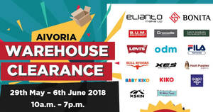 Featured image for Aivoria: Bonita, Elianto & Tiamo: Up to 90% off warehouse sale at Kuala Lumpur! Ends 6 Jun 2018