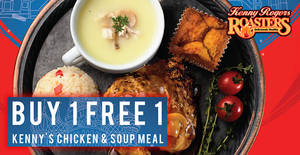 Featured image for Kenny Rogers ROASTERS – Buy 1 Free 1 Kenny's Chicken & Soup Meal from 27 – 29 Jun 2018