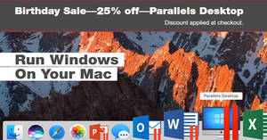 Save 25% off Parallels Desktop 13 for Mac! Ends 27 Jun 2018