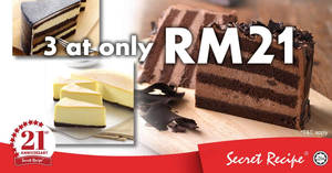 Secret Recipe to offer 3 cakes for ONLY RM21 on Thursday, 21 Jun 2018!