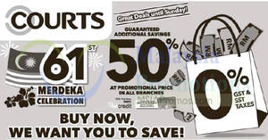 Featured image for Courts: Additional guaranteed savings 50% at promotion price! Ends 29 Jul 2018