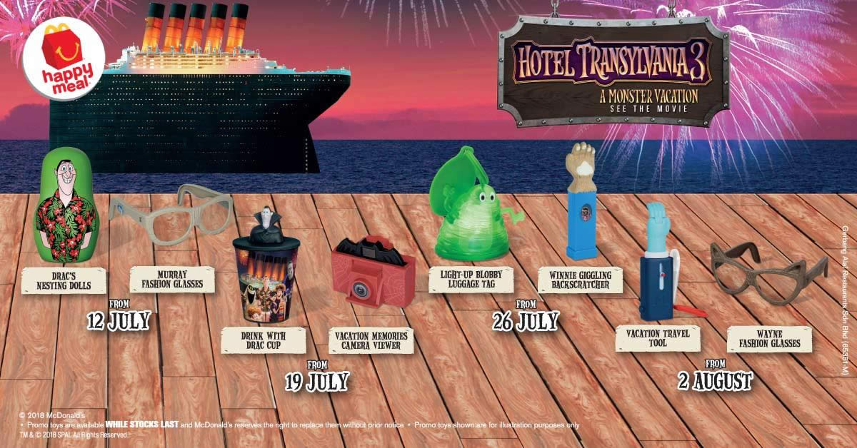 McDonalds FREE Hotel Transylvania 3 Toy With Every Happy Meal Ends 8 Aug 2018