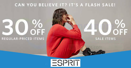 Featured image for Esprit: FLASH sale - 30% OFF regular-priced & 40% OFF sale items! Valid on 29 Aug 2018