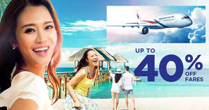 Featured image for Malaysia Airlines offers up to 40% off fares when you book by 20 Aug 2018