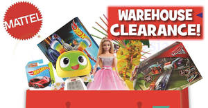 Mattel Warehouse Clearance at KL Gateway Mall from 16 – 18 Aug 2018