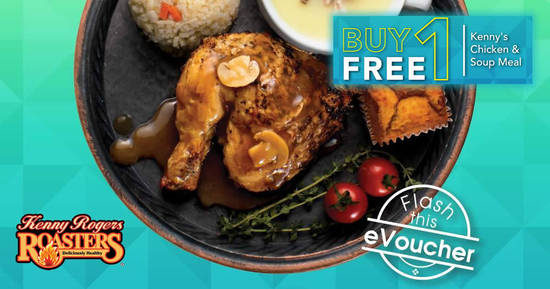 Featured image for Kenny Rogers ROASTERS is offering Buy-1-FREE-1 Kenny's Chicken & Soup Meal till 21 Sep 2018