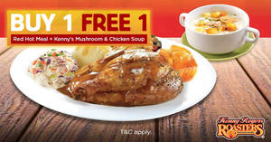 Featured image for Kenny Rogers ROASTERS is offering Buy-1-FREE-1 Red Hot Meal + Kenny's Mushroom and Chicken Soup from 1 – 5 Oct 2018