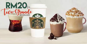 Featured image for Starbucks is offering RM20 for any two Grande handcrafted beverages on 20 Sep 2018, 6pm – 9pm!