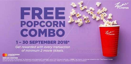 Featured image for TGV Cinemas: Have your next popcorn combo at TGV Cinemas for FREE! Valid from 1 - 30 Sep 2018