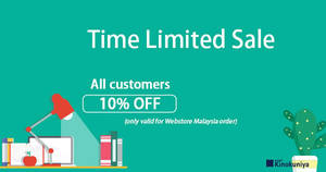 Kinokuniya is offering 10% off for 3-days only till 16 Jan 2019