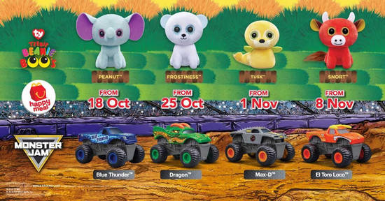 Featured image for McDonald's: FREE TY Teenie Boo's or Monster Jam toy with every Happy Meal till 14 Nov 2018