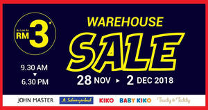 Featured image for Baby Kiko, Kiko, John Master & Schwarzenbach warehouse sale at Puchong from 28 Nov – 2 Dec 2018