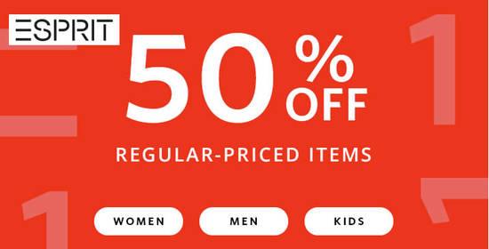 Featured image for Esprit: FLASH sale - 50% OFF all regular-priced items online! Ends 11 Nov 2018